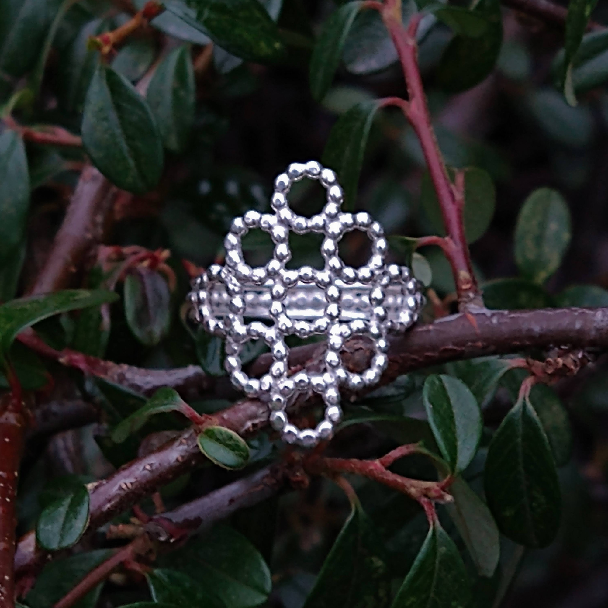 Silver Beaded Quatrefoil Ring - view from the front - against foliage background