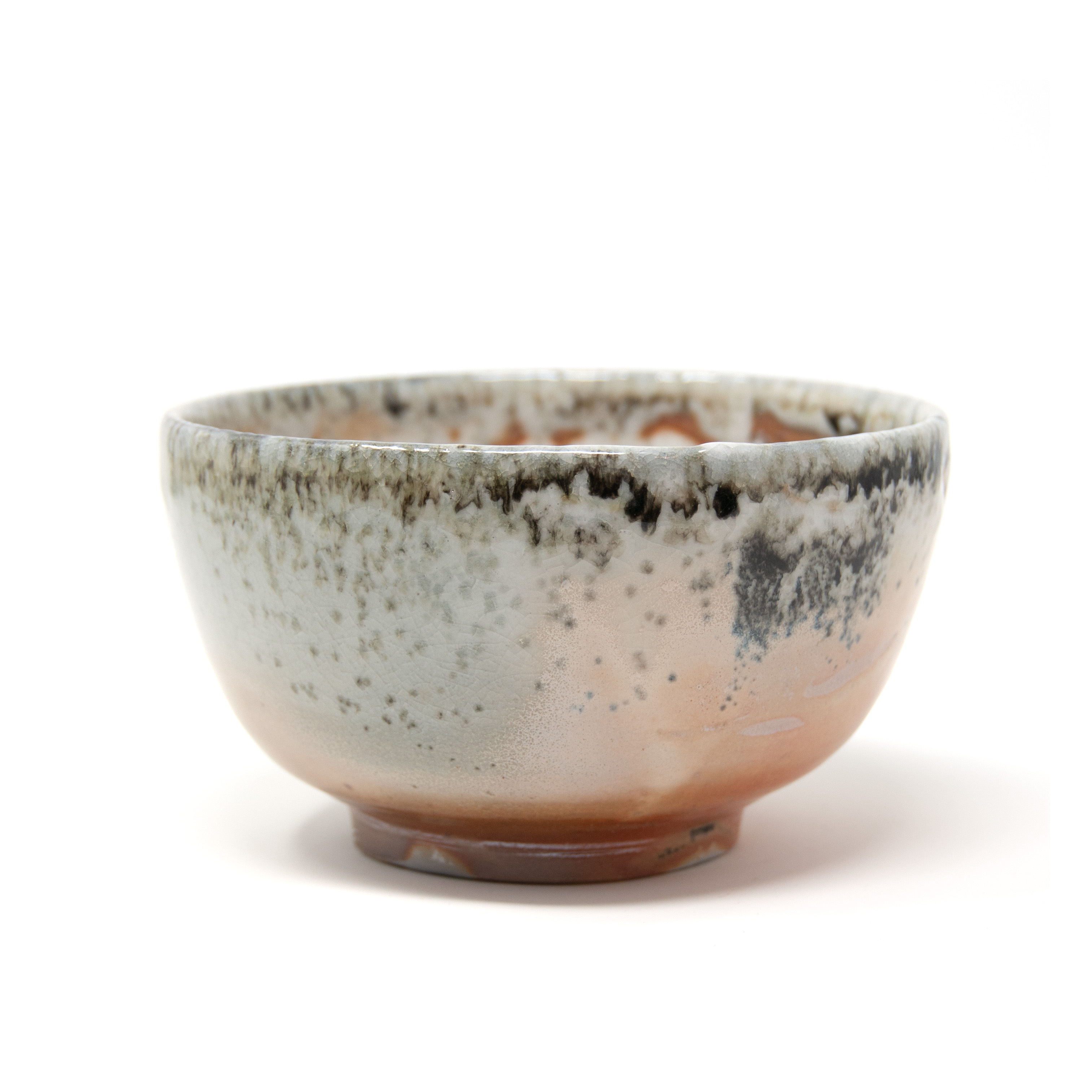 Wood fired, shino and lavender ash glazed bowl