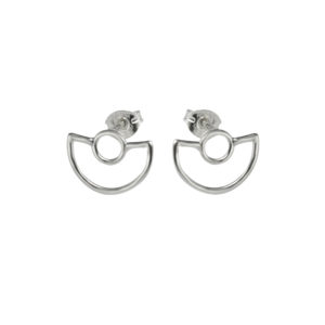 Arc medium double curve art deco inspired orb studs on white background