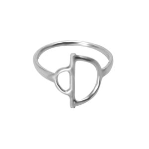 Faceted Arc Bow ring in Sterling Eco-silver on plain white background
