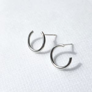 Circle Wire Stud Earrings on a white background