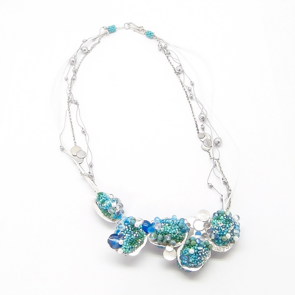 jewellery - beaded silver statement necklace